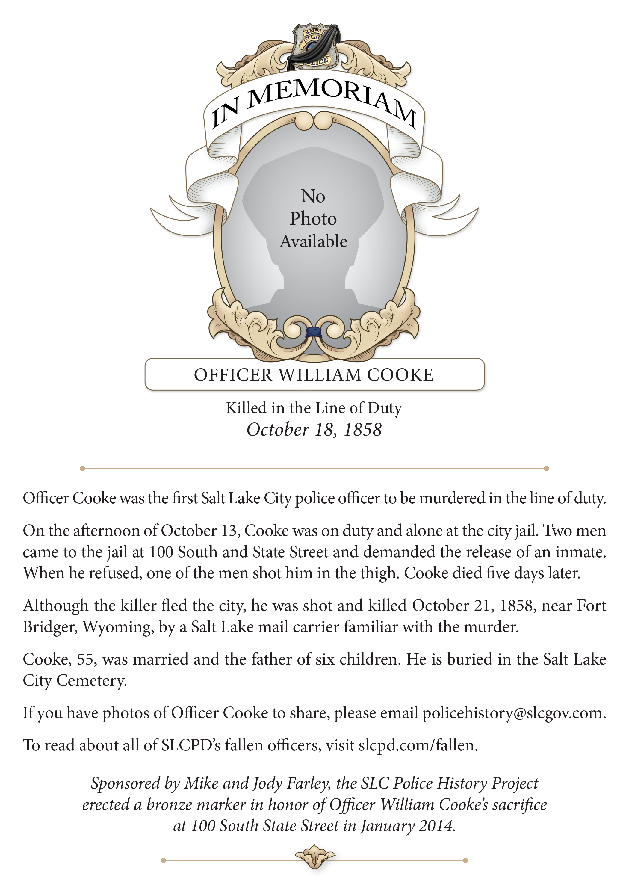In Memoriam, Officer Cooke (1858)