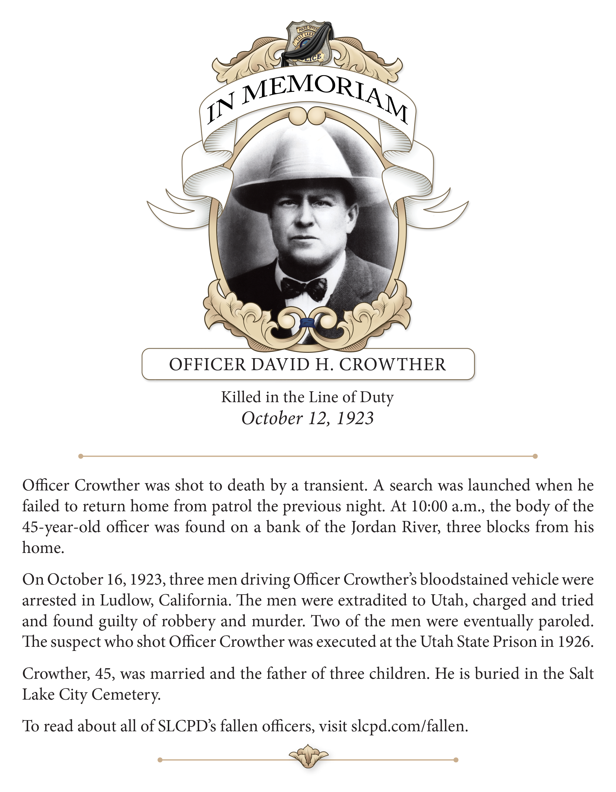 In Memoriam, Officer Crowther (1923)